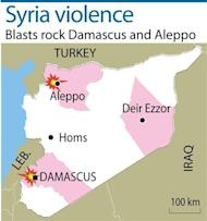 Syria's authorities and the opposition traded accusations Sunday over who was behind blasts that rocked Damascus and Aleppo, on the eve of parliamentary polls designed to boost the regime's legitimacy
