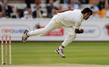 Bangladesh's Shahadat Hossain bowls during the first cricket test match against England at Lord's cricket ground in London
