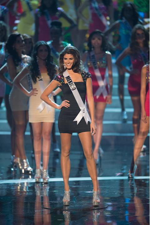 Miss Universe Mexico 2012, Karina Gonzalez, is announced as one of the top sixteen contestants in her Sherri Hill dress and Chinese Laundry shoes during this year's LIVE NBC Telecast of the 2012 Miss