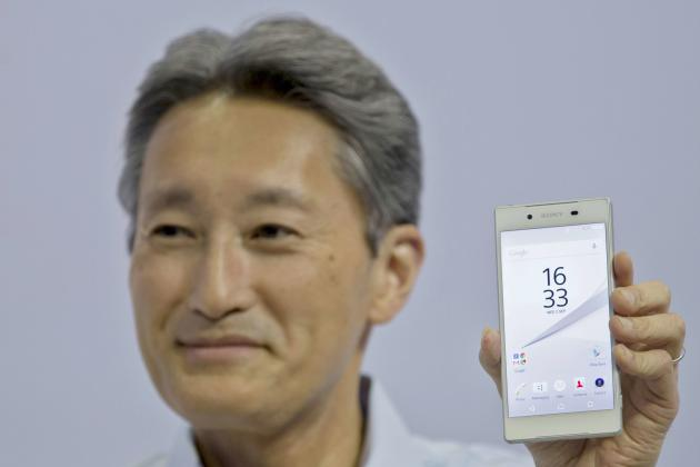 Hirai CEO of Sony presents new mobile phone Z5 to media at Consumer electronics trade fair IFA in Berlin