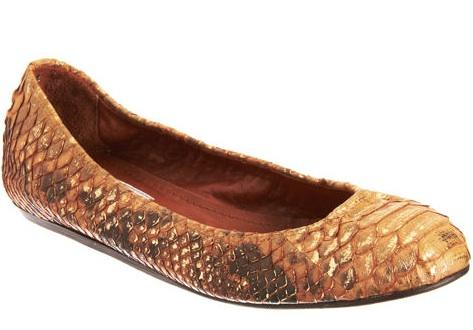 Lanvin, $1265. Gilded python for your royal feet.
