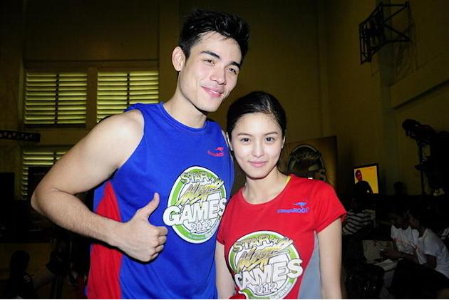Xiam Lim and Kim Chiu pose for the camera during the Star Magic Games held at the Celebrity Sports Club in Quezon City on 29 July 2012.