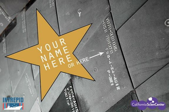 Museums in New York and California are offering opportunities to sponsor their permanent space shuttle displays and put your name on either stars or heat shield tiles.
