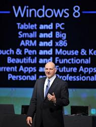 Microsoft CEO Steve Ballmer delivers a speech at the Seoul Digital Forum in Seoul in May 2012. Microsoft's much-anticipated Windows 8 operating system is set to take pride of place as tens of thousands of people head to Asia's leading IT fair opening in Taiwan