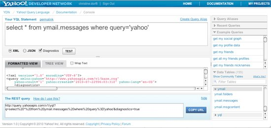 Y! Mail query in Console