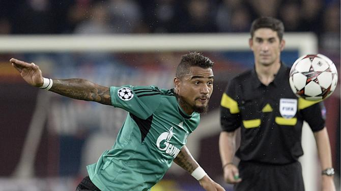 Schalke's Kevin-Prince Boateng in action, during the Champions League group E group stage soccer match between Switzerland's FC Basel and Germany's FC Schalke 04 at the St. Jakob-Park stadium in Basel, Switzerland, Tuesday, Oct. 1, 2013