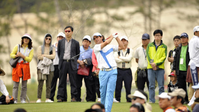 "This handout photo provided by PMG shows Felipe Aguilar of Chile at the Blackstone Golf Club during the final day of the Ballantine's Championship in Icheon on 29 April, 2012.  The 3 Million USD event is co sanctioned between the Asian and European Tour.    HANDOUT  RESTRICTED TO EDITORIAL USE - MANDATORY CREDIT ""AFP PHOTO / Paul Lakatos / PMG"" - NO MARKETING NO ADVERTISING CAMPAIGNS - DISTRIBUTED AS A SERVICE TO CLIENTS         AFP PHOTO / Paul Lakatos / PMGPAUL LAKATOS/AFP/GettyImages"
