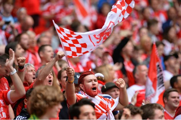 Middlesbrough fans at Wembley Stadium in London on May 25, 2015