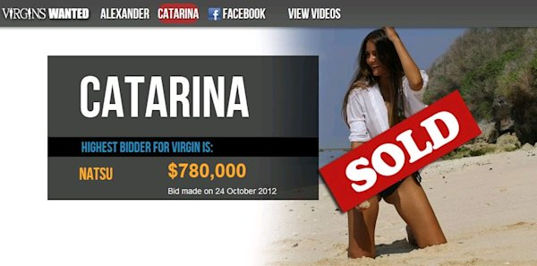 Catarina Migliorini's virginity has been sold to a Japanese man for $780,000. (virginswanted.com)