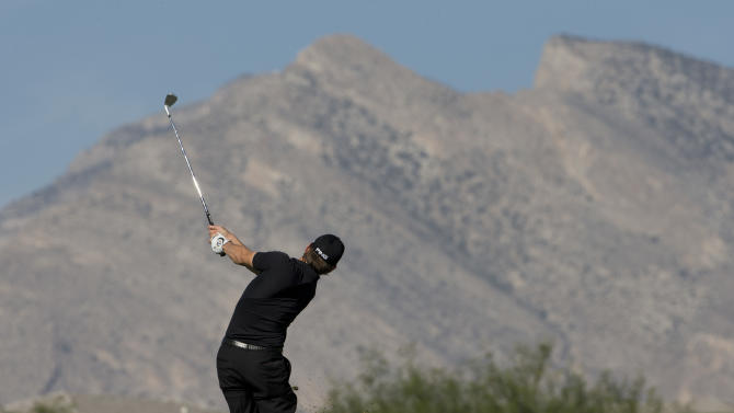 Heath Slocum hits off the sixth fairway during the Justin Timberlake Shriners Hospitals for Children Open golf tournament on Thursday, Oct. 4, 2012, in Las Vegas. (AP Photo/Julie Jacobson)