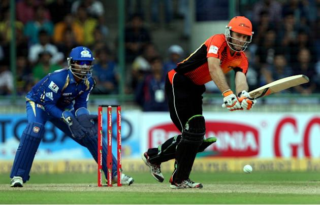 Simon Katich of Perth Scorchers in action during the CLT20 match between Perth Scorchers and Mumbai Indians at Feroz Shah Kotla, Delhi on Oct. 2, 2013. (Photo: IANS)