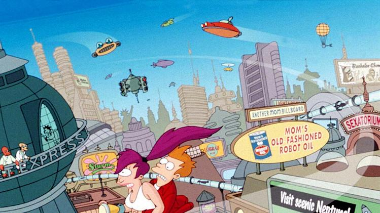 Fry and Leela (center) zoom across New York City while Bender (lower right) throws dice and Dr. Zoidberg and the Professor (upper left) look on from the offices of Planet Express on Futurama.