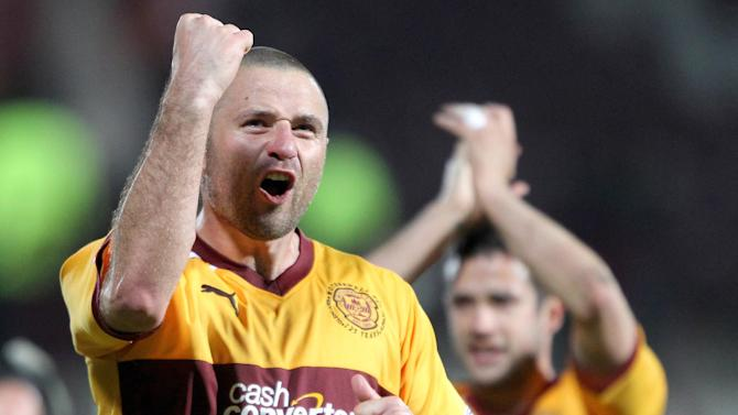 Michael Higdon, left, grabbed a hat-trick for Motherwll against Inverness