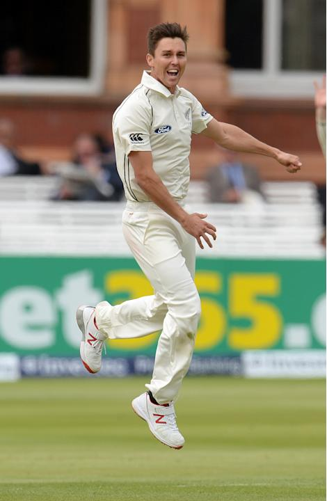Cricket: New Zealand's Trent Boult celebrates after dismissing England's Alastair Cook