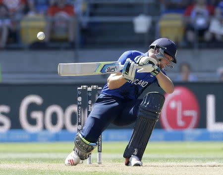 England's Buttler ducks under a full toss from Sri Lanka's Lakmal during their Cricket World Cup match in Wellington