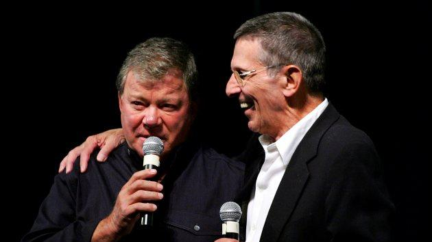William Shatner and Leonard Nimoy speak to fans at the fifth annual official Star Trek convention at the Las Vegas Hilton August 19, 2006 in Las Vegas -- Getty Images