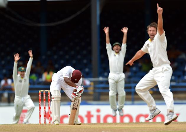 West Indies Kieran Powell (C) is LBW as