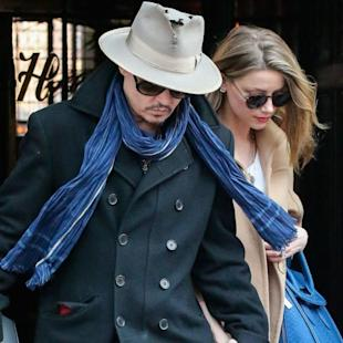 One Hot Couple! Johnny Depp And Fiancee Amber Heard Tightly Hold Hands Whilst Leaving New York Hotel