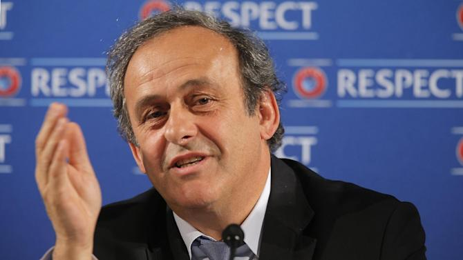 """In this Saturday, Feb 22, 2014 file photo UEFA President Michel Platini  speaks during a press conference, one day prior to the UEFA EURO 2016 qualifying draw at the Acropolis Convention Centre in Nice, southeastern France. Seeking to bolster national team football amid the rampant success of club competitions, UEFA's 54 member countries voted Thursday to create the Nations League. UEFA boosted the new event by guaranteeing it would feed into qualifying for the 2020 European Championship. It could later be incorporated into European qualifying for the 2022 World Cup. """"This is a very important decision for the future of football at the level of national teams,"""" UEFA President Michel Platini said Thursday after the unanimous vote at European football's annual congress"""
