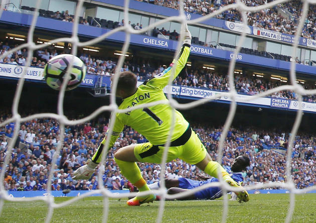 Chelsea's Victor Moses scores their third goal