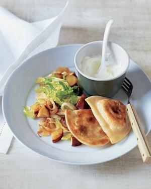Potato Pierogi with Sauteed Cabbage and Apples
