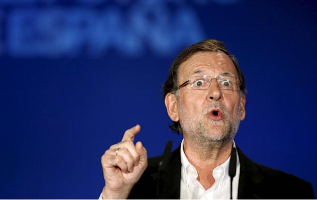 Spain's Prime Minister Mariano Rajoy reacts during a meeting in Lloret de Mar, north of Barcelona