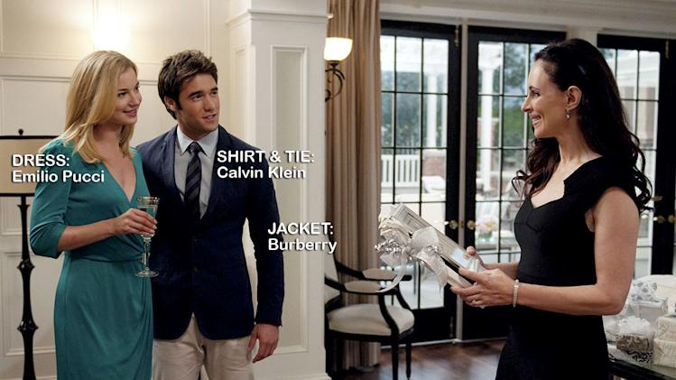 "Emily VanCamp as Emily Thorne, Josh Bowman as Daniel Grayson, and Madeleine Stowe as Victoria Grayson in the Season 1 episode ""Charade."" Revenge"