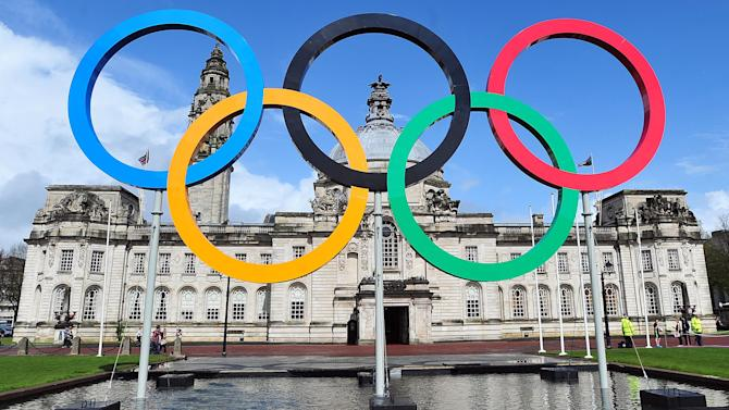 "A handout picture relseased by the London Organising Committee of the Olympic and Paralympic Games (LOCOG) on April 25, 2012 a set of Olympic rings unveiled outside Cardiff City Hall on April 25, 2012.  RESTRICTED TO EDITORIAL USE - MANDATORY CREDIT "" AFP PHOTO / LONDON 2012 "" - NO MARKETING NO ADVERTISING CAMPAIGNS - DISTRIBUTED AS A SERVICE TO CLIENTS-/AFP/GettyImages"