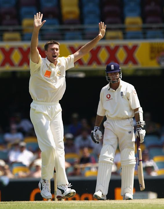 Glenn McGrath of Australia appeals for the wicket of Michael Vaughan of England