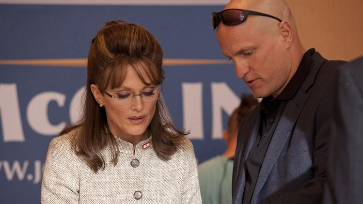 "Julianne Moore as Sarah Palin and Woody Harrelson as Steve Schmidt in ""Game Change."""