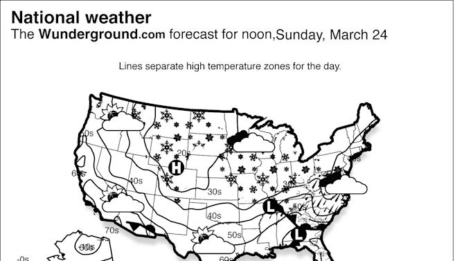 The forecast for noon, Sunday, March 24, 2013 shows a winter storm continues moving across the nation, bringing from the Central Plains through the Midwest and up the Ohio River Valley. Meanwhile, showers and thunderstorms will persist across the Southeast. (AP Photo/Weather Underground)