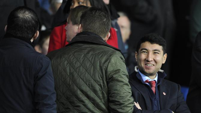 Apsalamov is pictured in the director's box during the English Premier League soccer match between Sunderland and Cardiff City in Cardiff