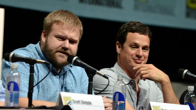 "Robert Kirkman, left, and David Alpert participate in ""The Walking Dead"" panel on Day 3 of Comic-Con International on Friday, July 19, 2103, in San Diego. (Photo by Jordan Strauss/Invision/AP)"