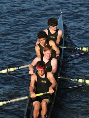 Blake Haxton (front) leads the Upper Arlington crew before his amputations — CaringBridge.org