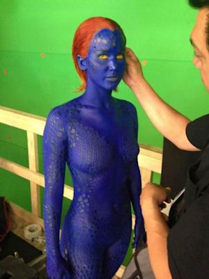 Jennifer Lawrence seen on the set of 'X-Men: Days of Future Past' as Mystique on May 20, 2013 -- Twitter