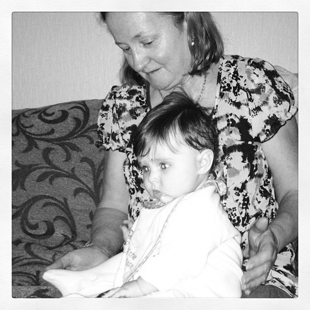 Una Healy's baby with her granny