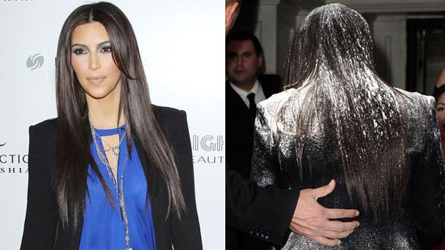 Kim Kardashian Gets Floured on Red Carpet