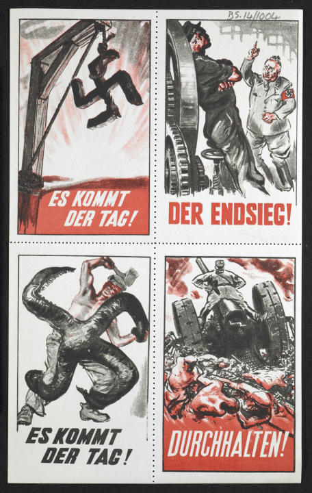 Allied Forces produced this graphic anti-Nazi imagery in 1941, but the gum labels were never disseminated in Germany. Pictures show a worker defying his Nazi boss, a worker battling a giant swastika,