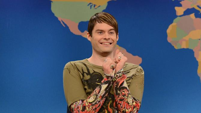 """Ths March 9, 2013 photo released by NBC shows Bill Hader in character as Stefon on """"Saturday Night Live,"""" in New York.  Hader is leaving """"Saturday Night Live"""" after an eight-year run. His spokesman confirms the 34-year-old comedian will depart """"SNL"""" after this weekend's season finale. (AP Photo/NBC, Dana Edelson)"""