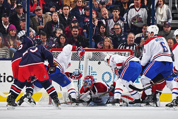 COLUMBUS, OH - NOVEMBER 4: Scott Hartnell #43 of the Columbus Blue Jackets scores on goaltender Al Montoya #35 of the Montreal Canadiens during the second period of a game on November 4, 2016 at Nationwide Arena in Columbus, Ohio. (Photo by Jamie Sabau/NHLI via Getty Images)