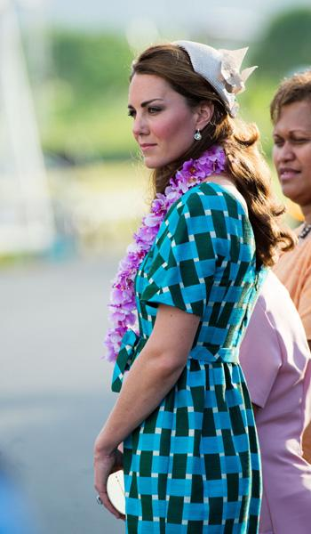 Catherine, Duchess of Cambridge arrives at Honiara International Airport on day 6 of the royal couple's Diamond Jubilee tour of the Far East on September 16, 2012 in Honiara, Guadalcanal Island, Solom