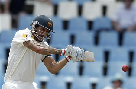 Australia's Mitchell Johnson plays a shot during the second day of their cricket test match against South Africa in Centurion