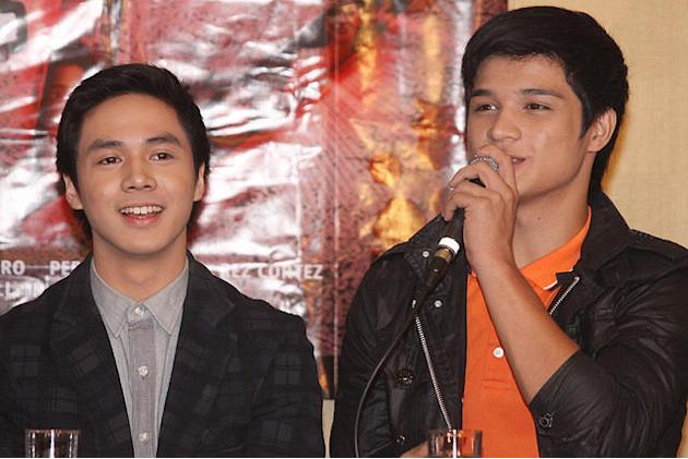 "Sam Concepcion and Hiro Magalona at the press conference of ""Shake, Rattle and Roll 13"" held at the Imperial Palace Suites in Quezon City. (Jerome Ascano, NPPA Images)"