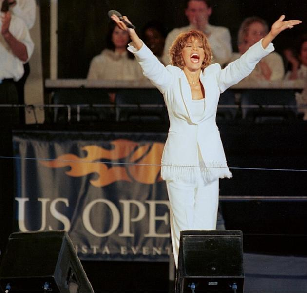 US Singer Whitney Houston Singing At The Ceremony Dedicating The New Arthur Ashe Stadium At The USTA National Tennis AFP/Getty Images