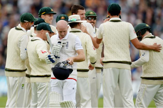 England's Adam Lyth leaves the field after being dismissed