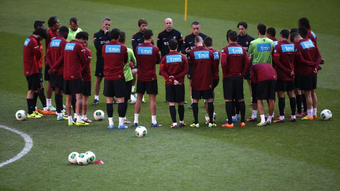 Portugal's national soccer team players attend a training session in Lisbon