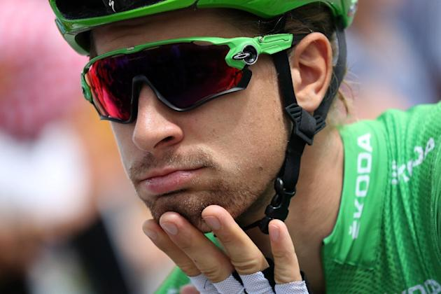 Slovakia's Peter Sagan, wearing the best sprinter's green jersey, waits for the start of the 146,5 km twentieth stage of the 103rd edition of the Tour de France cycling race on July 23, 2016 b