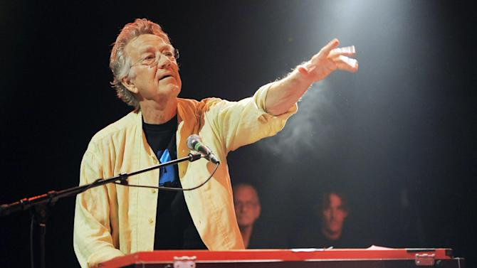 FILE - In this Aug. 16, 2012 file photo, Ray Manzarek of The Doors performs at the Sunset Strip Music Festival launch party celebrating The Doors at the House of Blues in West Hollywood, Calif. Manzarek, the keyboardist who was a founding member of The Doors, has died at 74. Publicist Heidi Robinson-Fitzgerald says in a news release that Manzarek died Monday, May 20, 2013, at the RoMed Clinic in Rosenheim, Germany, surrounded by his family. (Photo by Chris Pizzello/Invision/AP, File)