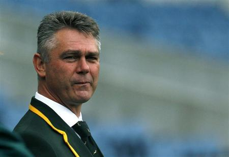 South Africa head coach Heyneke Meyer watches his players during their 'Captain's Run' training session, ahead of their Autumn Test rugby union match against Scotland, at Murrayfield Stadium in Edinburgh