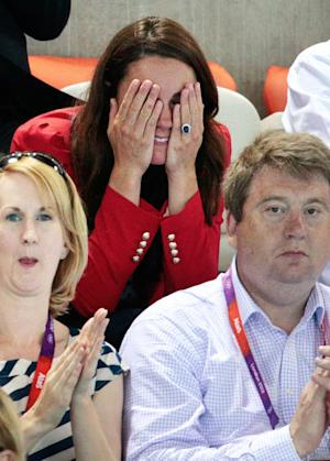 Kate Middleton Covers Her Eyes, Bites Nails With Prince William at Olympics Swimming Match
